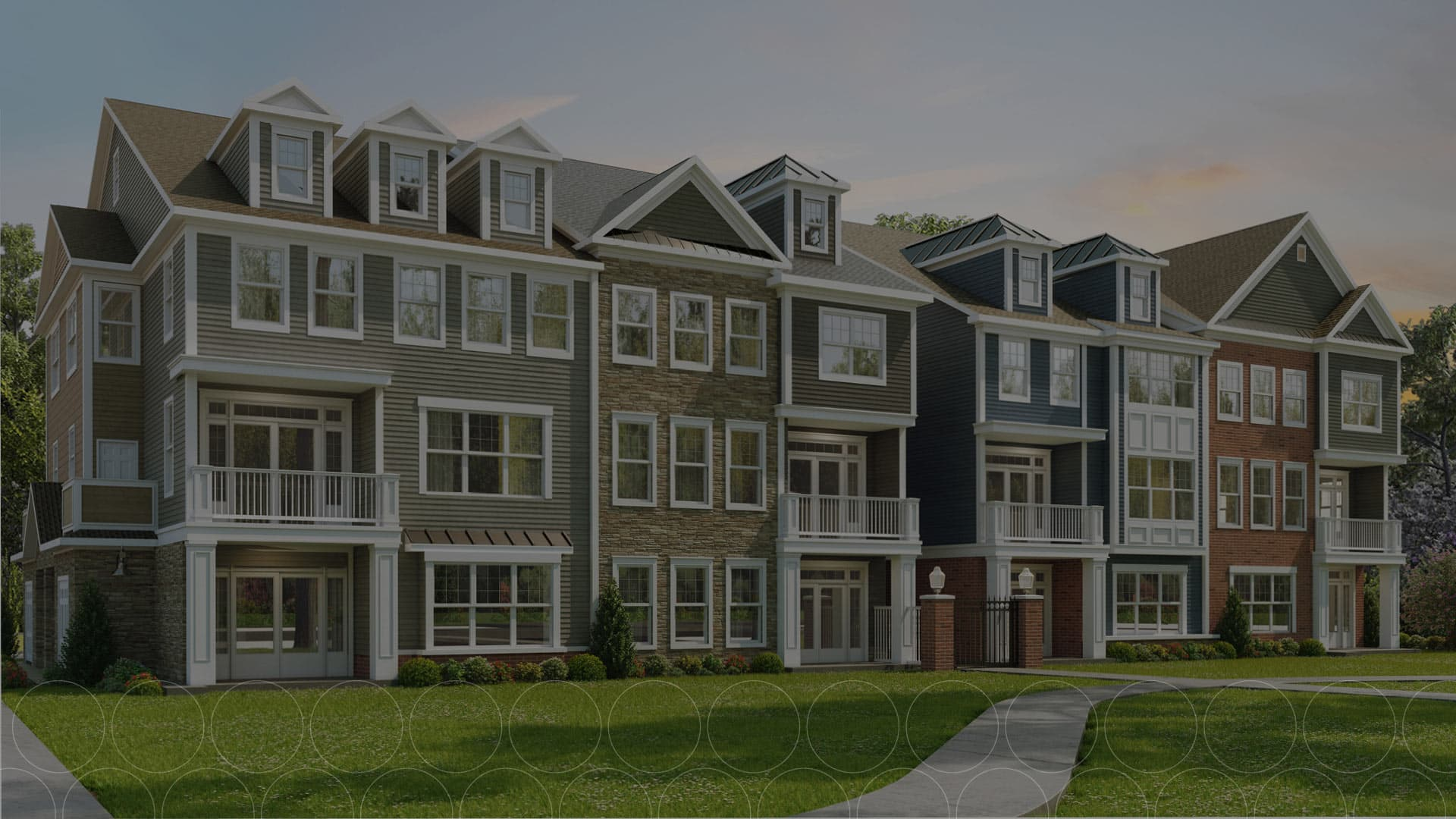 Dimmed photo of the rendered residential buildings at Ewing Town Center