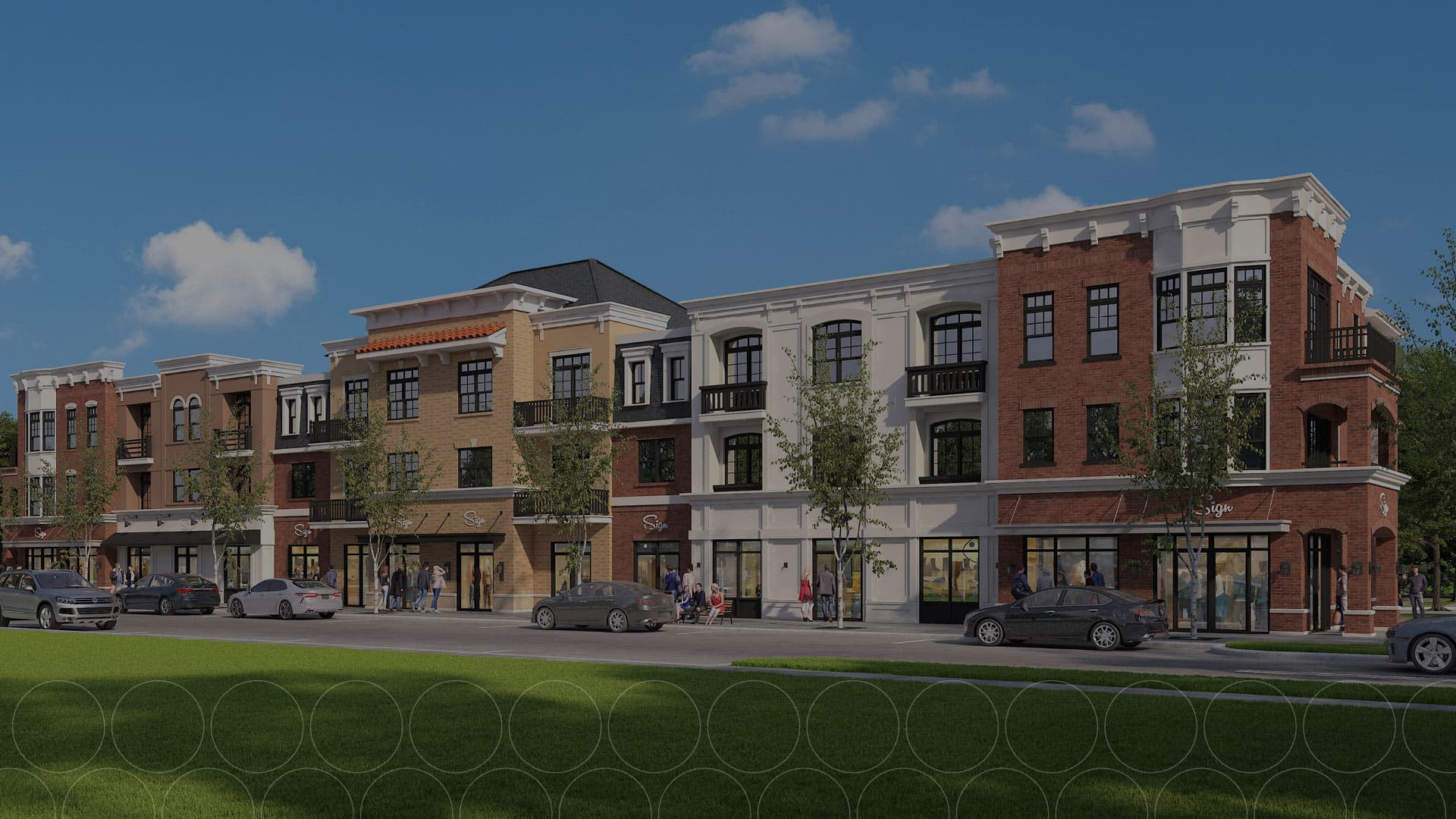 Dimmed photo of the rendered retail space at Ewing Town Center